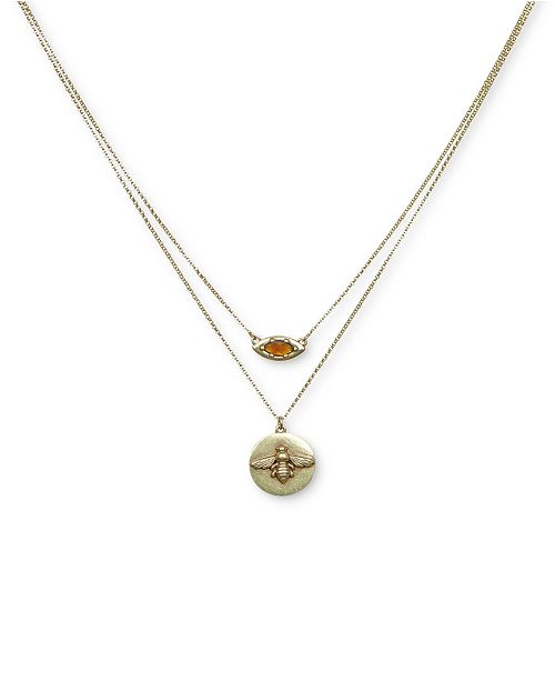 "Lucky Brand Gold-Tone Honeybee Two-Row Pendant Necklace, 17"" + 2"" extender"