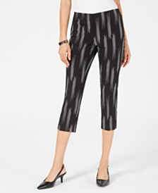 Alfani Petite Printed High-Waist Capri Pants, Created for Macy's