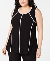 c5678de934750 Alfani Plus Size Piped-Trim Tank Top