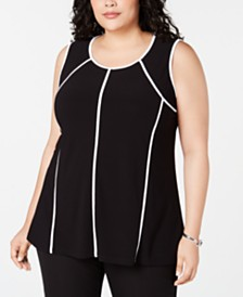 Alfani Plus Size Piped-Trim Tank Top, Created for Macy's