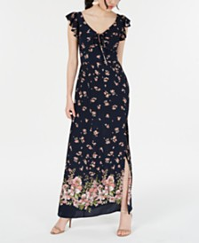 Teeze Me Juniors' Floral Peasant Crepe Maxi Dress