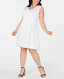 Teeze Me Plus Size V-Neck Fit & Flare Dress