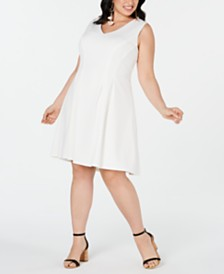 Teeze Me Plus Size V-Neck Fit & Flare Dress