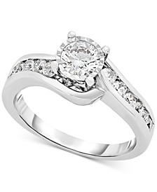Diamond Swirl Engagement Ring (9/10 ct. t.w.) in 14k White Gold
