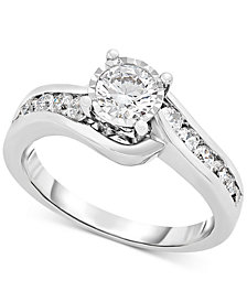 TruMiracle™ Diamond Swirl Engagement Ring (9/10 ct. t.w.) in 14k White Gold