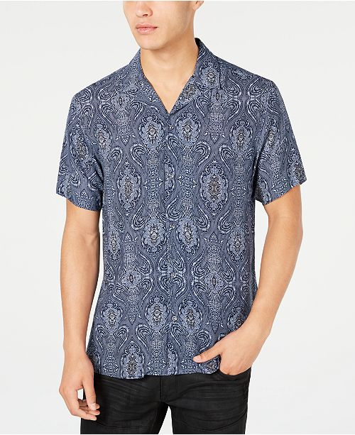 INC International Concepts I.N.C. Men's Baroque Camp Collar Shirt, Created for Macy's