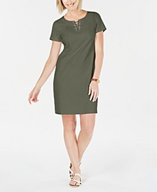 Petite Cotton Lace-Up Split-Neck Dress, Created for Macy's