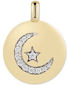 "CHARMBAR™ Swarovski Zirconia Moon & Star ""Follow your Dreams"" Reversible Charm Pendant in 14k Gold-Plated Sterling Silver"