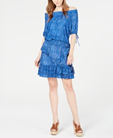 MICHAEL Michael Kors Mosaic Off-The-Shoulder Top & Printed Ruffled Skirt
