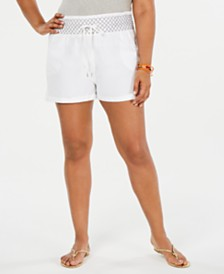 Planet Gold Trendy Plus Size Cotton Smocked Shorts