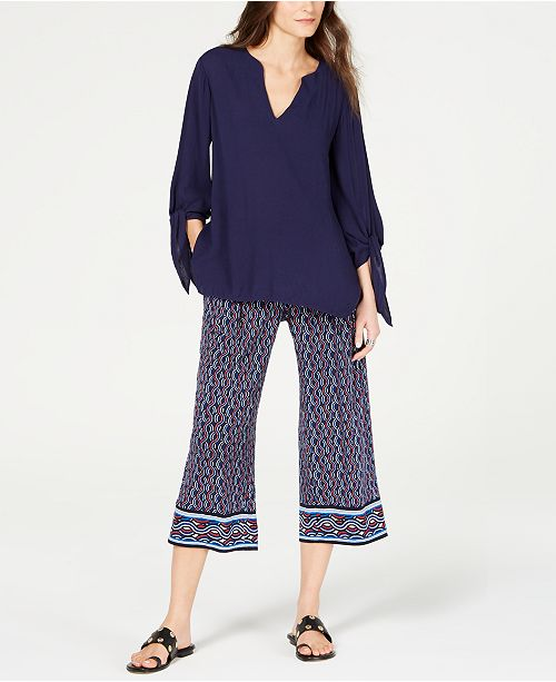 Michael Kors Tie-Sleeve Top & Printed Pants