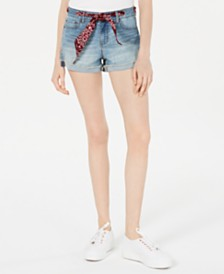 Vanilla Star Juniors' Bandanna-Belted Cuffed Denim Shorts