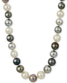 "Multi-Cultured Tahitian & Cultured South Sea Pearl (8-10mm) 18"" Collar Necklace in 14k White Gold"