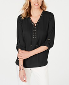 JM Collection Petite Lace-Up Top, Created for Macy's