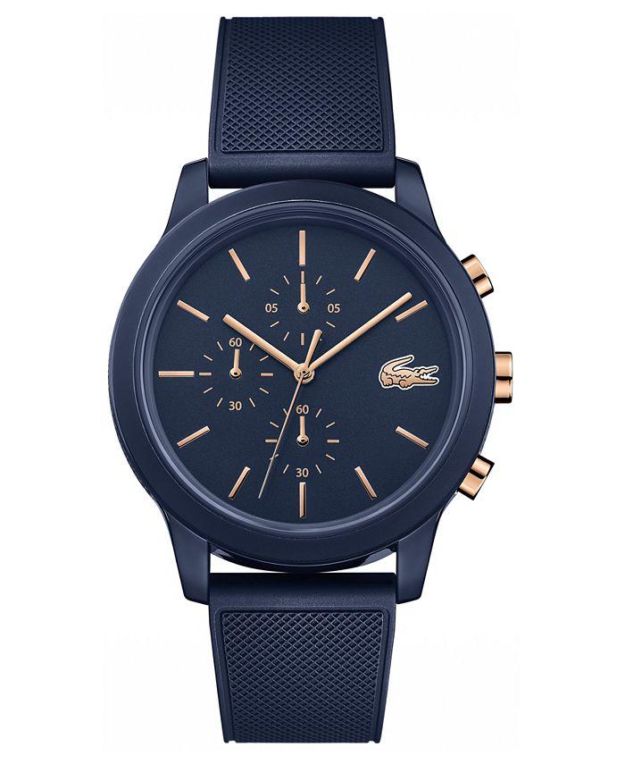 Lacoste - Men's Chronograph 12.12 Blue Rubber Strap Watch 42mm
