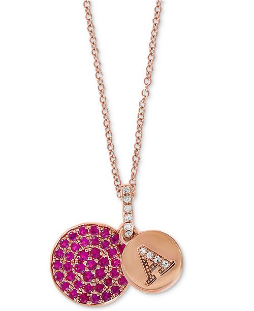 """EFFY Collection EFFY® Certified Ruby (3/8 ct. t.w.) & Diamond Accent 18"""" Initial Pendant Necklace in 14k Rose Gold"""