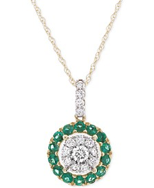 "Emerald (3/8 ct. t.w.) & Diamond (1/4 ct. t.w.) 18"" Pendant Necklace in 14k Gold (Also Available in Sapphire or Certified Ruby)"