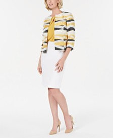 Kasper Jacquard Flyaway Jacket, Crisscross Stretch Top & Lightweight Skirt