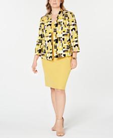 Kasper Plus Size Brushstrokes Scuba Jacket & Square-Neck Dress