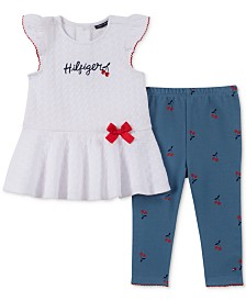 Tommy Hilfiger Baby Girls 2-Pc. Peplum Tunic & Printed Leggings Set