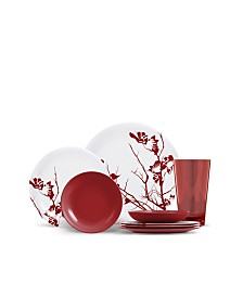 Thermoserv 16-Piece Melamine Dinnerware Set, Dogwood Floral