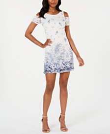 Robbie Bee Petite Cold-Shoulder Lace Trapeze Dress