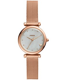 Fossil Women's Mini Carlie Rose Gold-Tone Stainless Steel Mesh Bracelet Watch 28mm