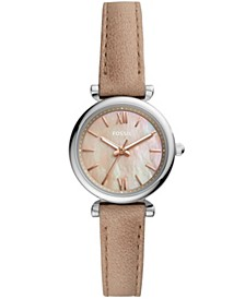 Women's Mini Carlie silver tone case with sand leather strap