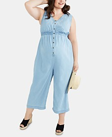Motherhood Maternity Plus Size Chambray Jumpsuit