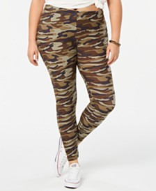 Planet Gold Trendy Plus Size Camo-Print Leggings