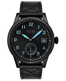 Men's Legacy Black Leather Strap Watch 44mm