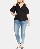 c94a9c0fc21760 City Chic Trendy Plus Size Cold-Shoulder Twist Top