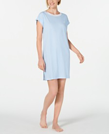 Lauren Ralph Lauren Lace-Trim Striped Knit Nightgown