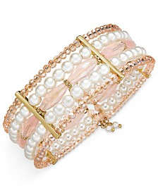 I.N.C. Gold-Tone Imitation Pearl and Bead Multi-Layer Coil Bracelet, Created for Macy's