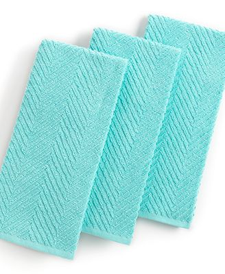Martha Stewart Collection Aqua Kitchen Towels, Set of 3, Only at Macy's