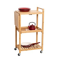 "38"" Bamboo Rolling Kitchen Cart"