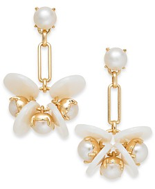 I.N.C. Gold-Tone Disc & Imitation Pearl Drop Earrings, Created for Macy's