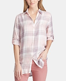Lauren Ralph Lauren Petite Twill Plaid Shirt