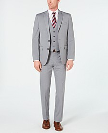 Men's Slim-Fit Flex Stretch Wrinkle-Resistant Light Gray Stripe Vested Suit