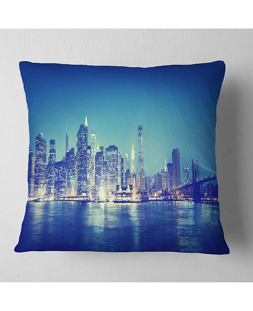 "Design Art Designart 'Blue New York City At Night Panorama' Cityscape Throw Pillow - 16"" x 16"""