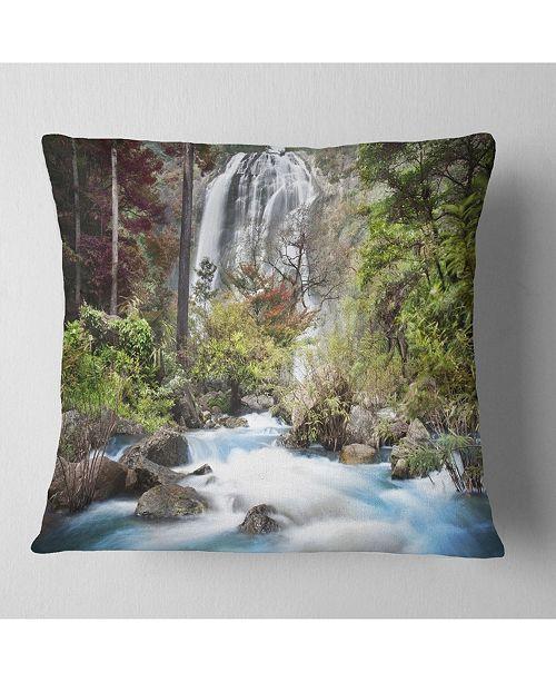 """Design Art Designart 'Blue Klonglan Waterfall' Photography Throw Pillow - 16"""" x 16"""""""