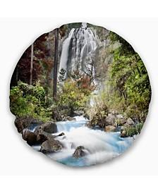 "Designart 'Blue Klonglan Waterfall' Photography Throw Pillow - 16"" Round"