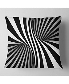 """Designart 'Black and White Spiral' Abstract Throw Pillow - 16"""" x 16"""""""