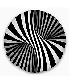 """Designart 'Black and White Spiral' Abstract Throw Pillow - 20"""" Round"""