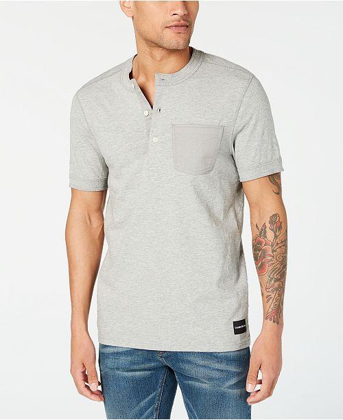Calvin Klein Jeans Men's Repair Stitch & Omega Rib Henley T-Shirt