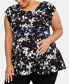 Motherhood Maternity Plus Size Printed Babydoll Blouse