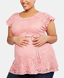 Plus Size Flutter-Sleeve Babydoll Blouse
