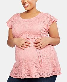 Motherhood Maternity Plus Size Flutter-Sleeve Babydoll Blouse