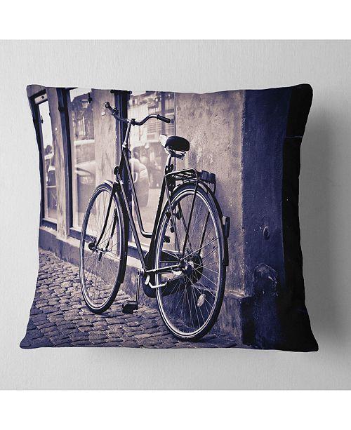 Fabulous Designart Classic Vintage City Bicycle Landscape Printed Throw Pillow 26 X 26 Inzonedesignstudio Interior Chair Design Inzonedesignstudiocom