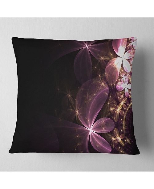 "Design Art Designart 'Purple Shiny Fractal Flowers' Abstract Throw Pillow - 16"" x 16"""